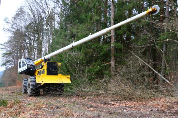 élagueuse mécanique effectue une taille en lisière de forêt
