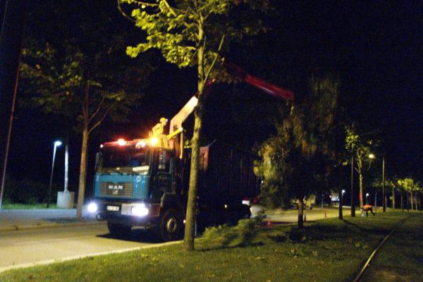 chargement de nuit de rémanents en milieu urbain