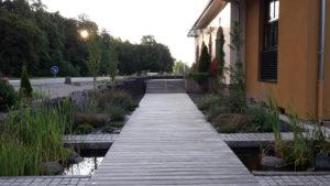 allée paysagère - terrasse bois - bassin
