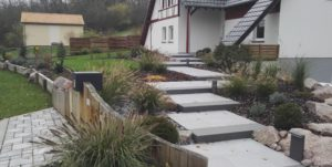 escalier - pavage - bois - jardin paysager